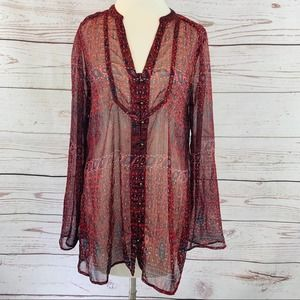 Converse One Star tunic style sheer blouse